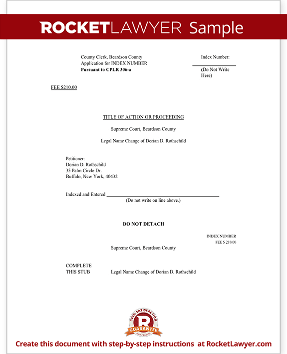 Sample New York Name Change Petition and Order Form Template