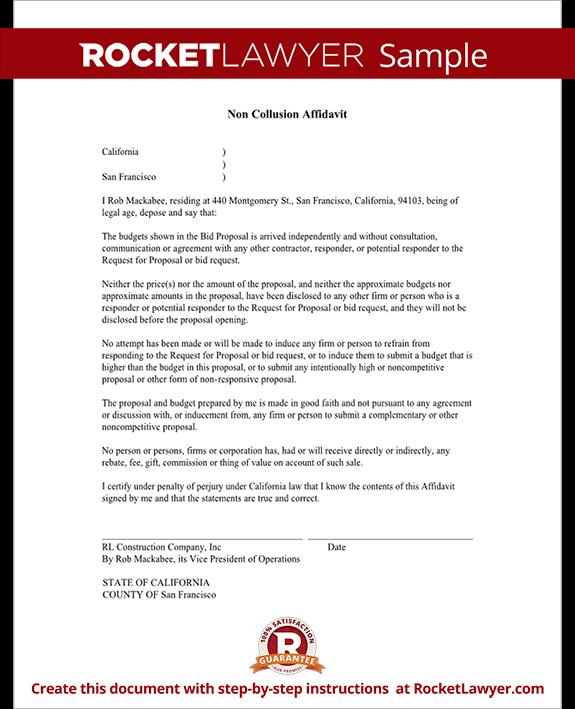 Sample Non Collusion Affidavit Form Template