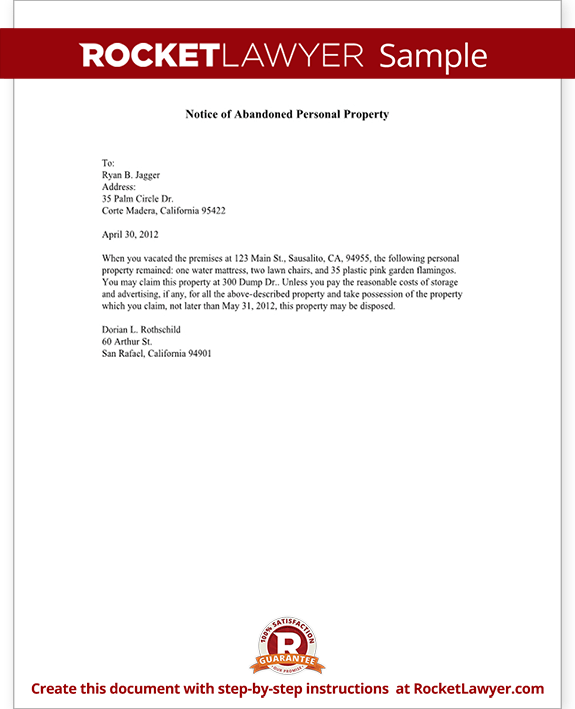 Sample Notice of Abandoned Personal Property Form Template