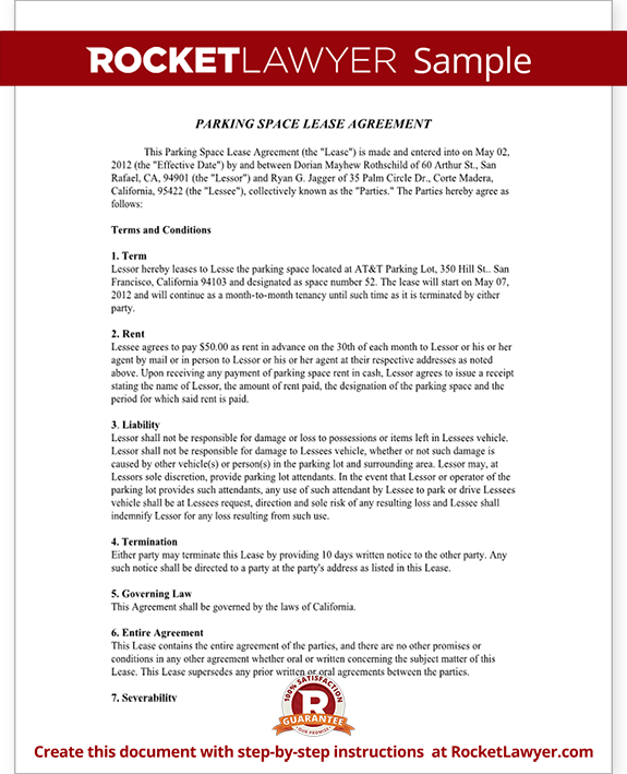 Parking Space Lease Form Template