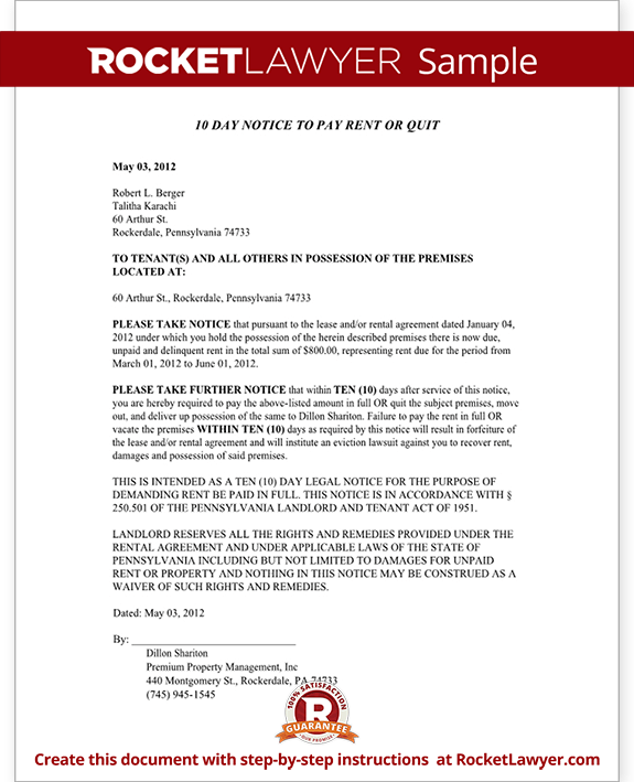 Sample Pennsylvania Eviction Notice Form Template