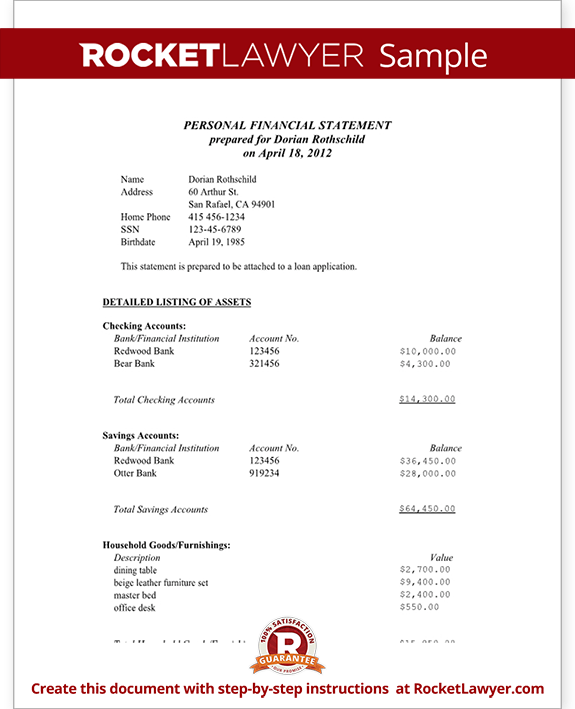 Sample Personal Financial Statement - Married Form Template
