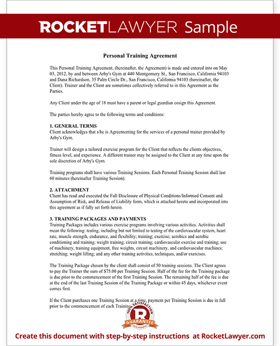 Sample Personal Training Agreement Form Template
