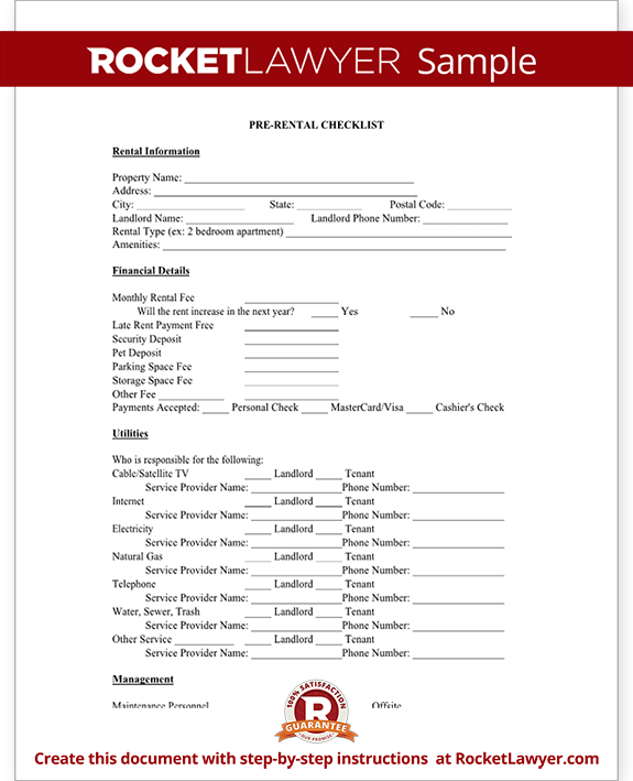 Sample Pre-Rental Checklist Form Template