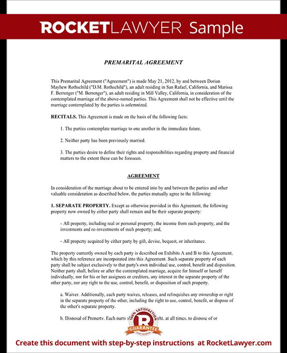 Premarital Agreement Form Template