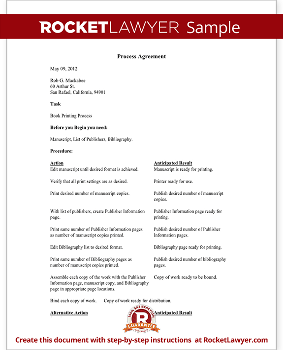 Process Agreement Form Template