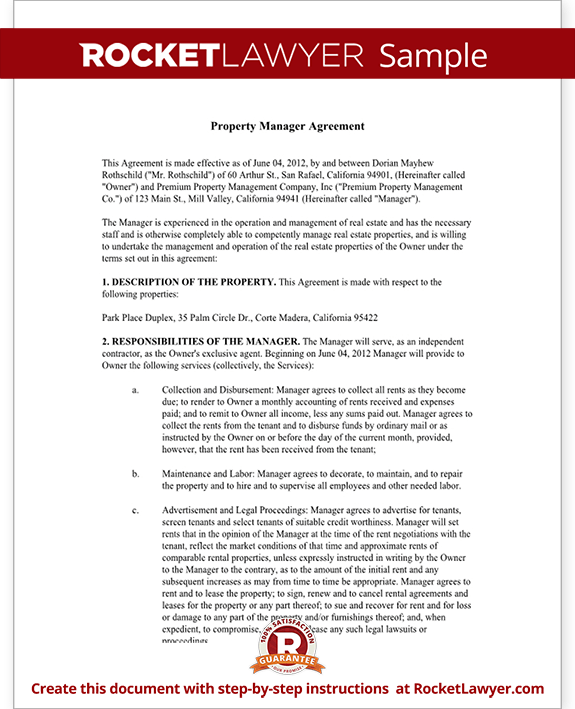 Sample Property Manager Agreement Form Template