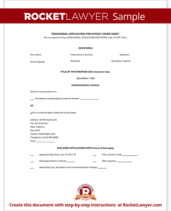 Sample Provisional Patent Application Form Template