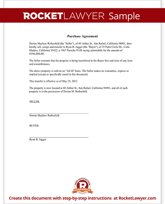 purchase contract template .