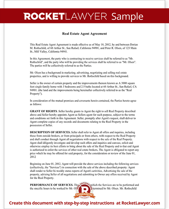 Sample Real Estate Agent Agreement Form Template