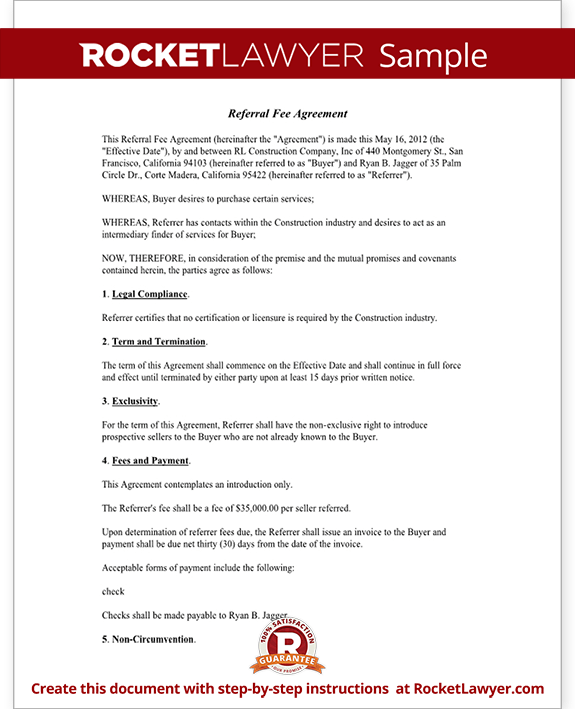 Referral Fee Agreement Form Template