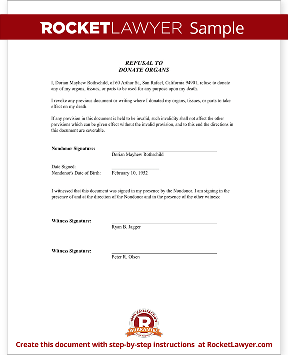 Refuse Organ Donation Form Form Template