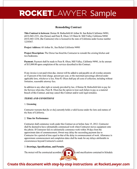 Remodeling Contract Form Template
