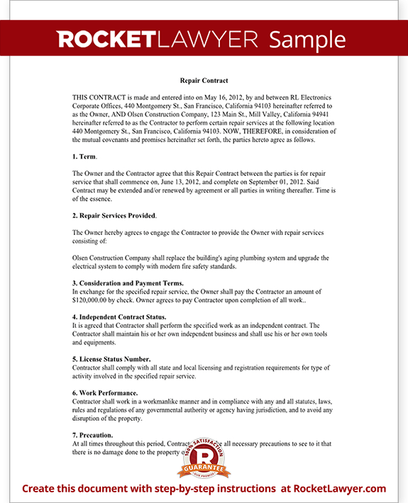 Repair Contract Form Template