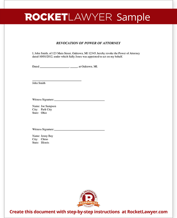 Revocation of Power of Attorney Form Template