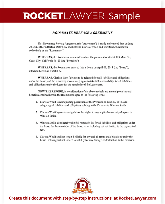 Roommate Release Agreement Form Template