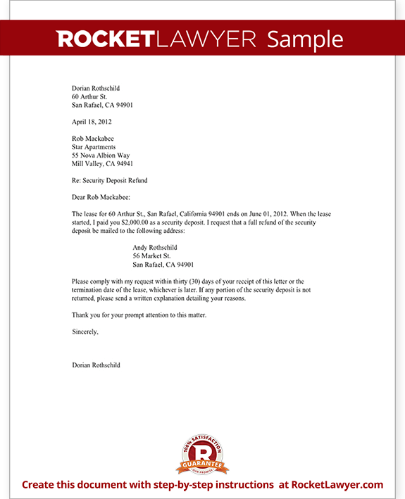 Tenants Security Deposit Refund Letter