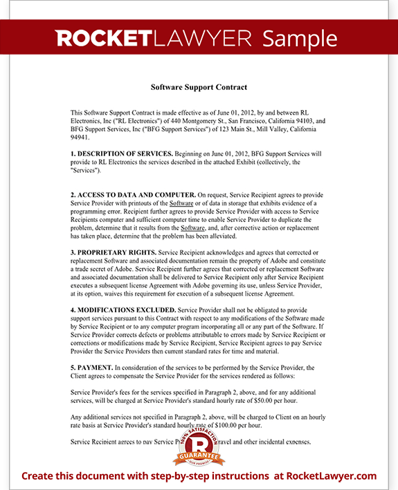 software subscription agreement template - software support contract agreement form with sample