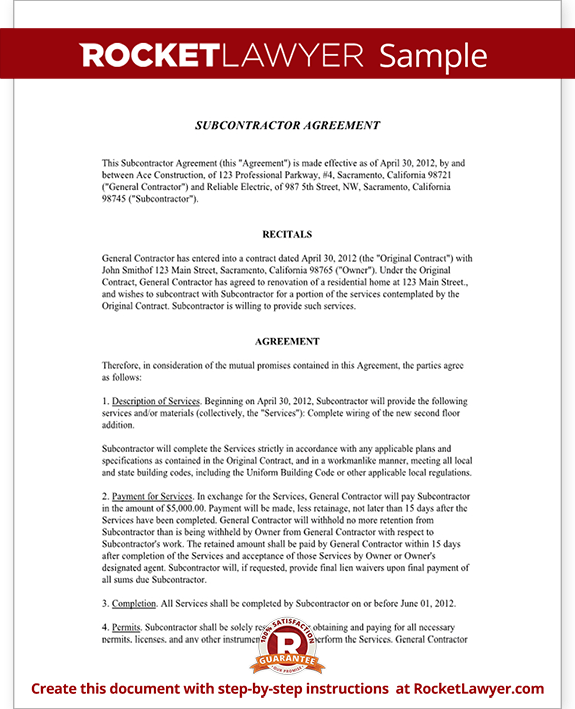 Subcontractor Agreement Form Template