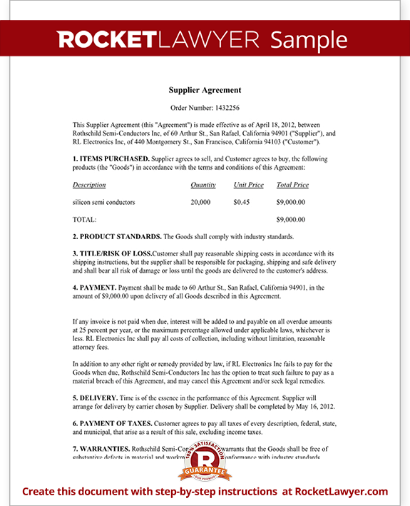 Supplier Agreement Form Template