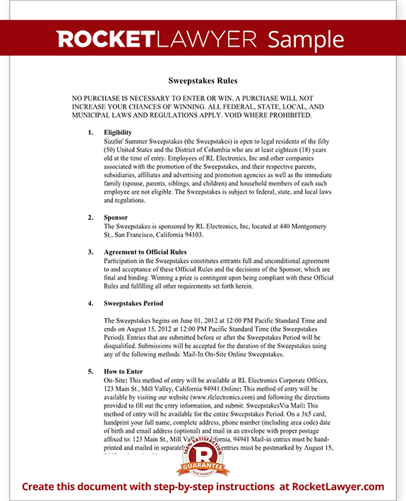 Sweepstakes Rules Form Template