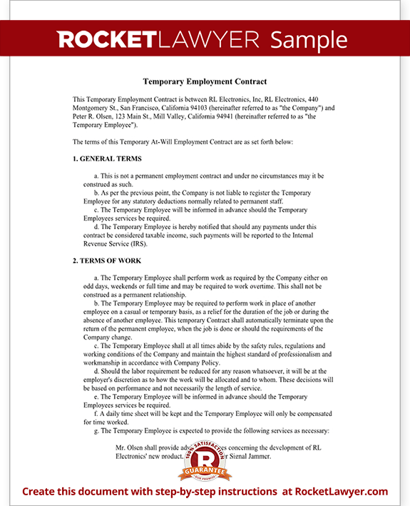 Temporary Employment Contract Form Template