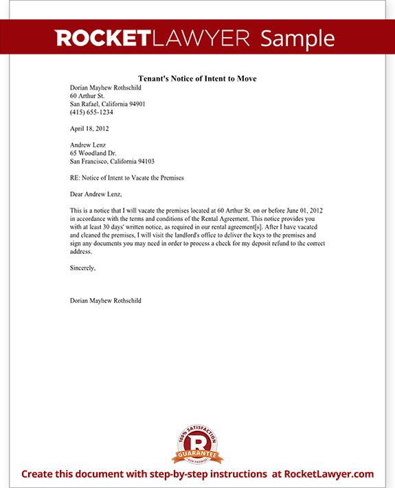 Tenant's Notice of Intent to