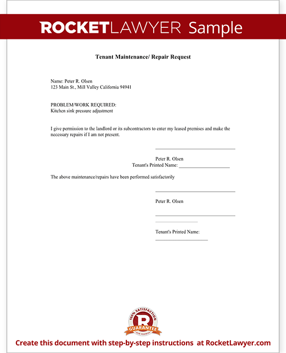 Tenant Repair Request Form Template