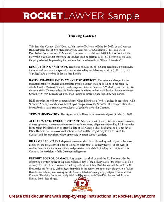 Trucking Contract Template Independent Contractor Agreement Form For  ... Truck For A Contractor Leased To Harry Owens Trucking on Pinterest