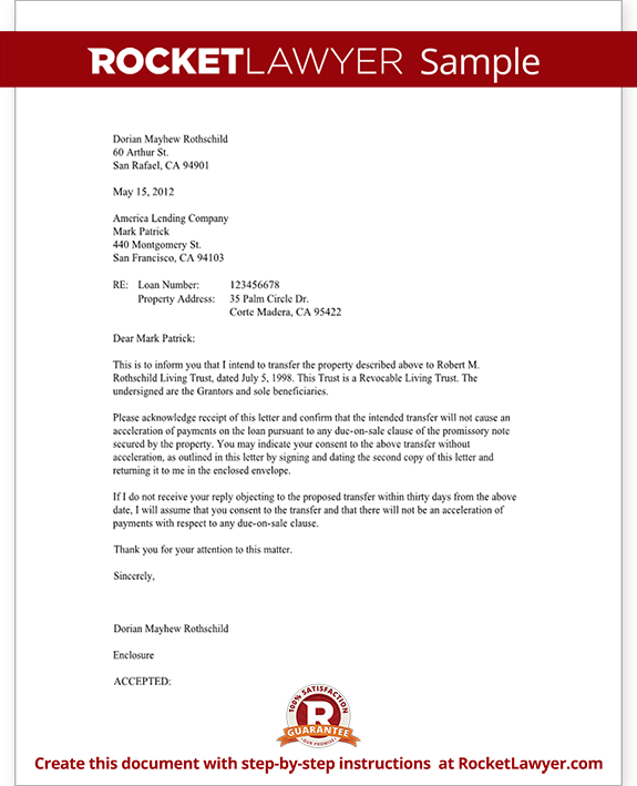 Trust Letter to Mortgage Lender Form Template