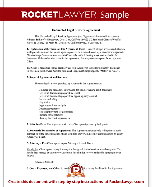 Unbundled Legal Services Agreement Form Template