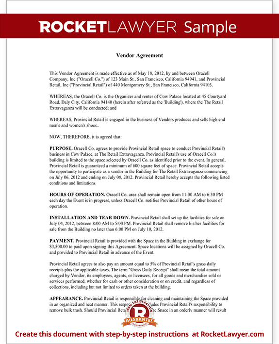 Vendor Agreement Form Template