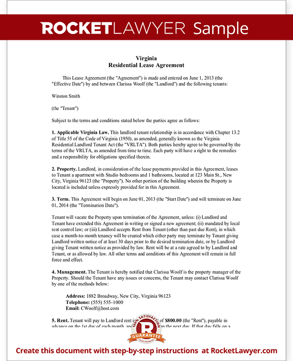 Virginia Lease Agreement Form Template