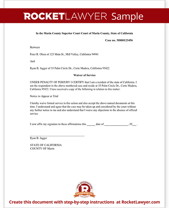 Waiver of Service Form Template
