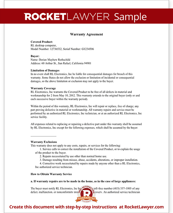Warranty Agreement Form Template