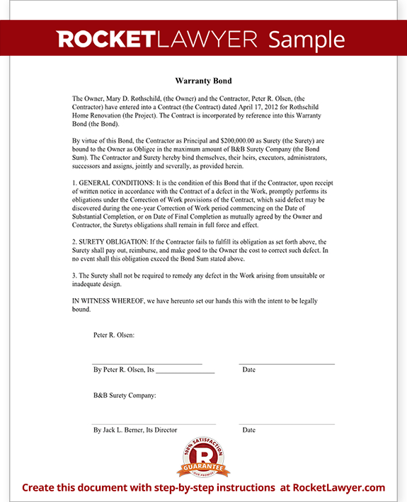 Warranty Bond Form Template