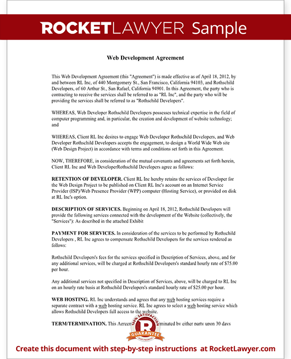 Web Development Agreement Form Template