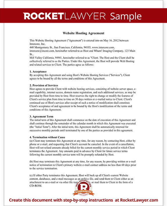 Web Hosting Agreement Form Template