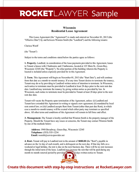 Sample Wisconsin Lease Agreement Form Template