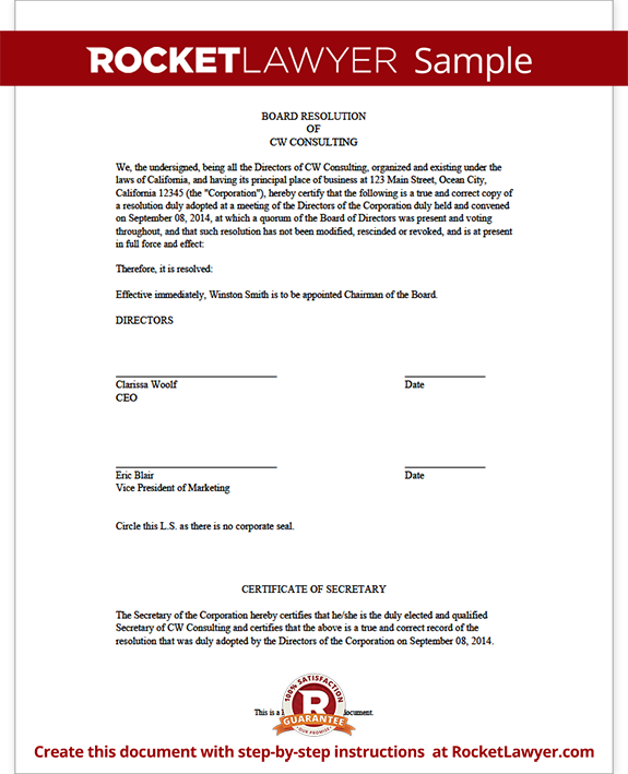 Board Resolution Form Template