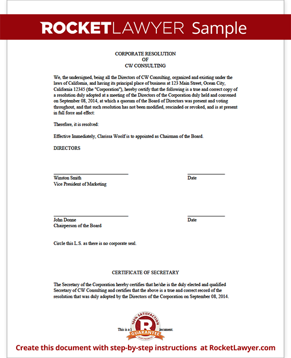 Corporate Resolution Form Template