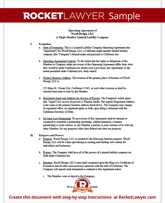 Single Member LLC Operating Agreement Form Form Template