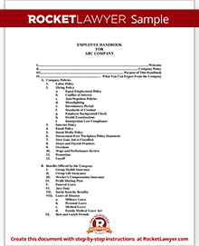 Employee Handbook Template Rocket Lawyer - Personnel handbook template