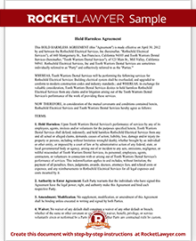 Hold Harmless Agreement Template And Definition Rocket Lawyer