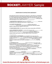 Sample Independent Contractor Agreement Form Template