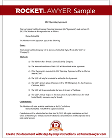Sample LLC Operating Agreement Form Template