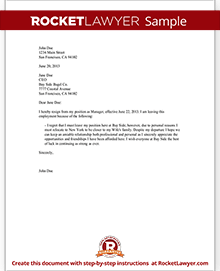 Sample Letter of Resignation