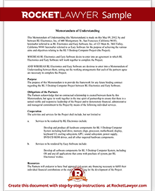 Memorandum Of Understanding Mou Template Rocket Lawyer