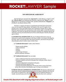NonDisclosure Agreement NDA Form Create A Free NDA Form - One page nda template
