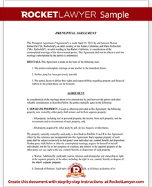 Prenuptial Agreement Form Prenup Template Rocket Lawyer
